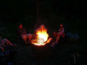 The crew relaxing around the campfire Chiricahua Mountains