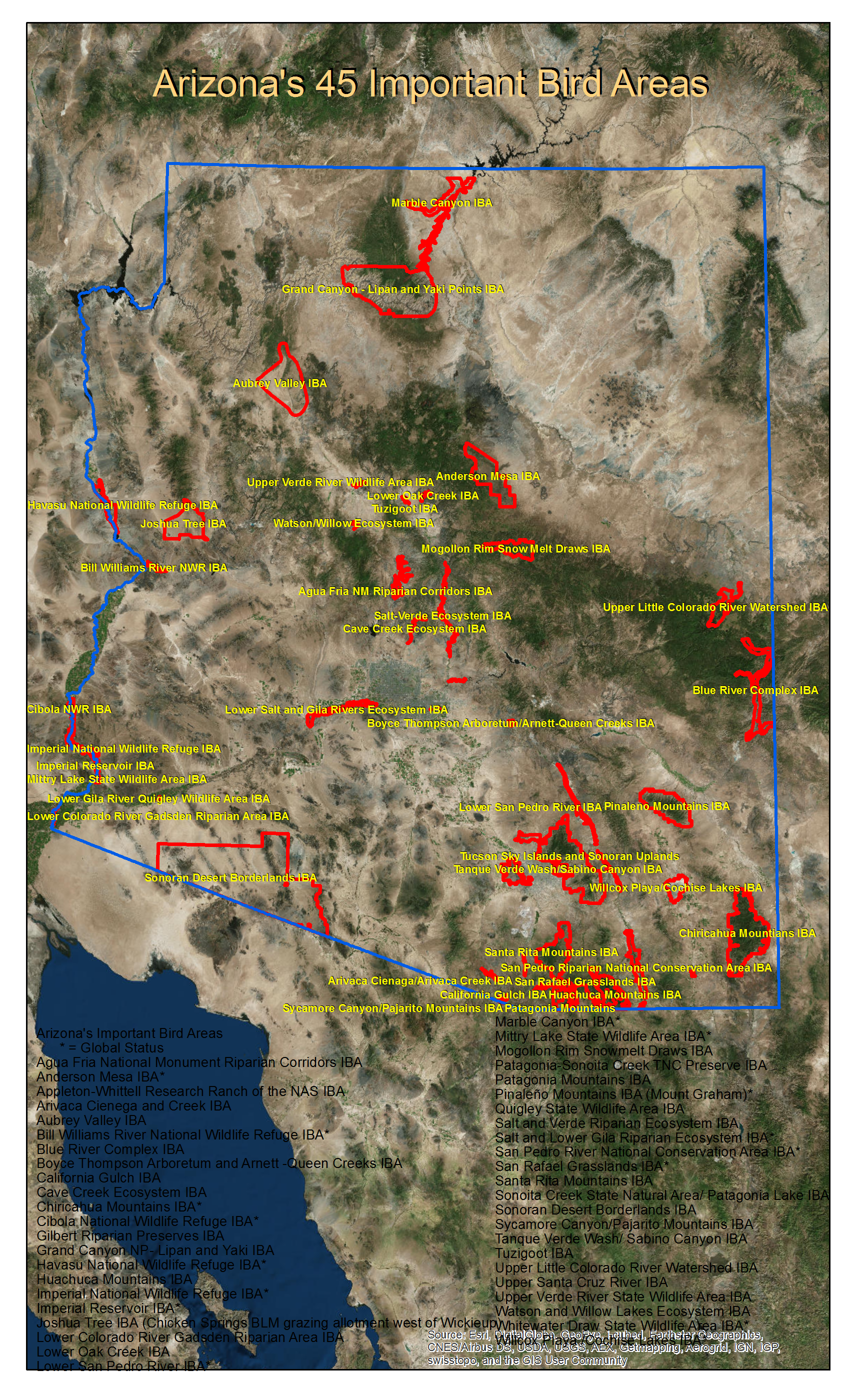 Map of all 45 IBAs in Arizona larger image